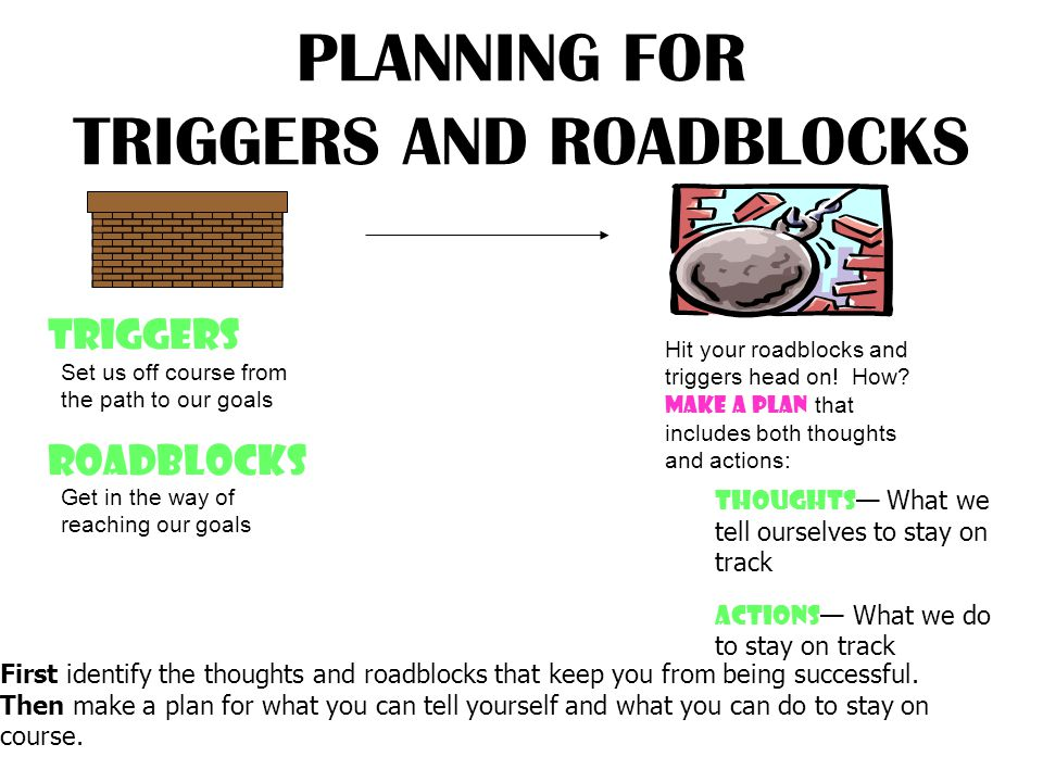 PLANNING FOR TRIGGERS AND ROADBLOCKS