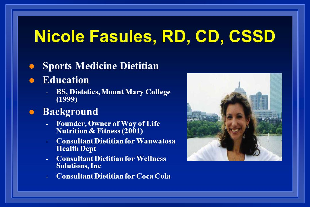 Nicole Fasules, RD, CD, CSSD