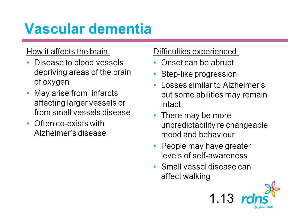 Vascular dementia 1.13 How it affects the brain: