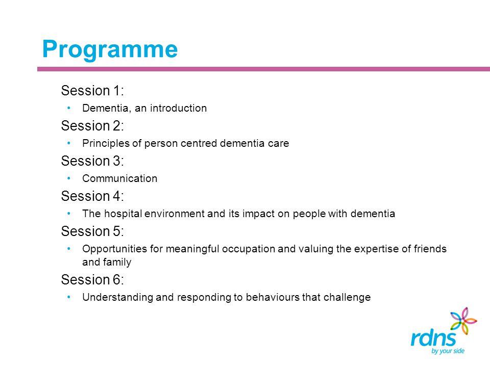 Programme Session 1: Session 2: Session 3: Session 4: Session 5:
