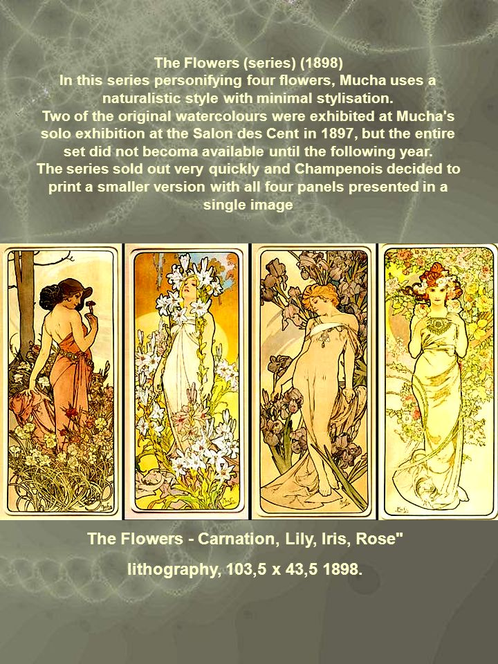 The Flowers (series) (1898) The Flowers - Carnation, Lily, Iris, Rose