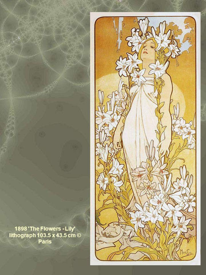 1898 The Flowers - Lily lithograph 103.5 x 43.5 cm © Paris