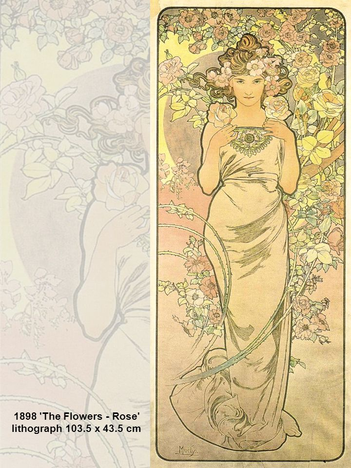 1898 The Flowers - Rose lithograph 103.5 x 43.5 cm