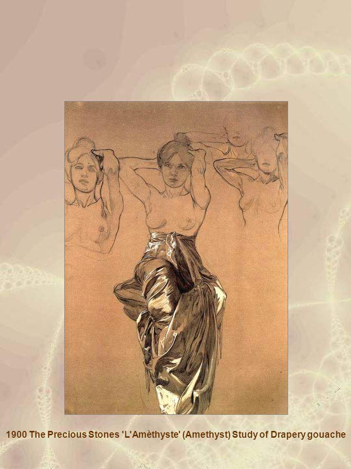 1900 The Precious Stones L Amèthyste (Amethyst) Study of Drapery gouache