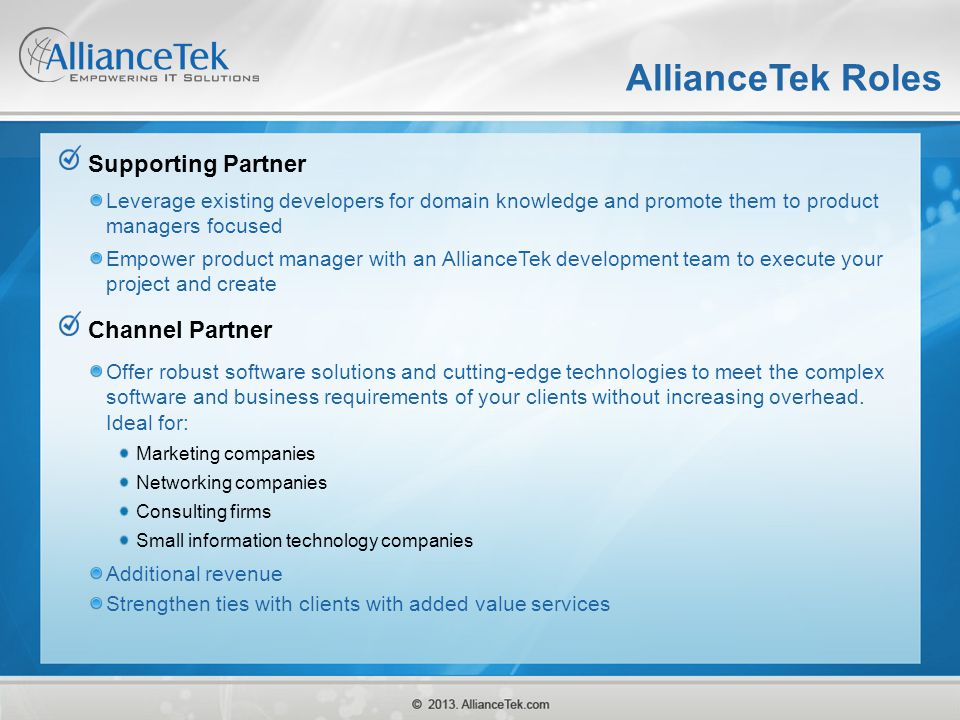 AllianceTek Roles Supporting Partner Channel Partner