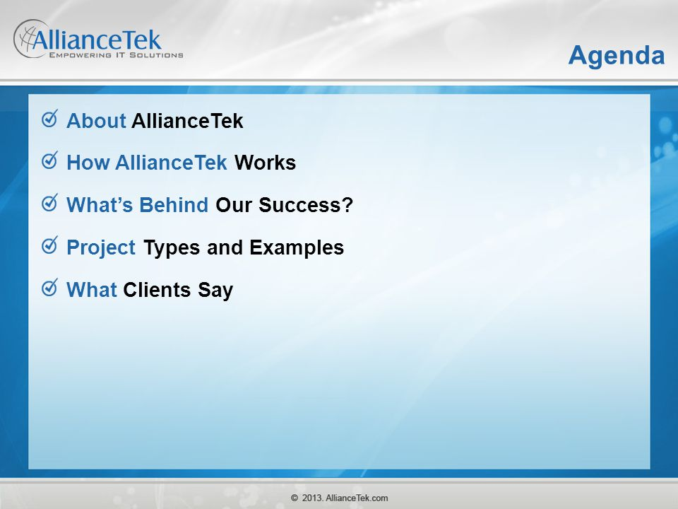 Agenda About AllianceTek How AllianceTek Works
