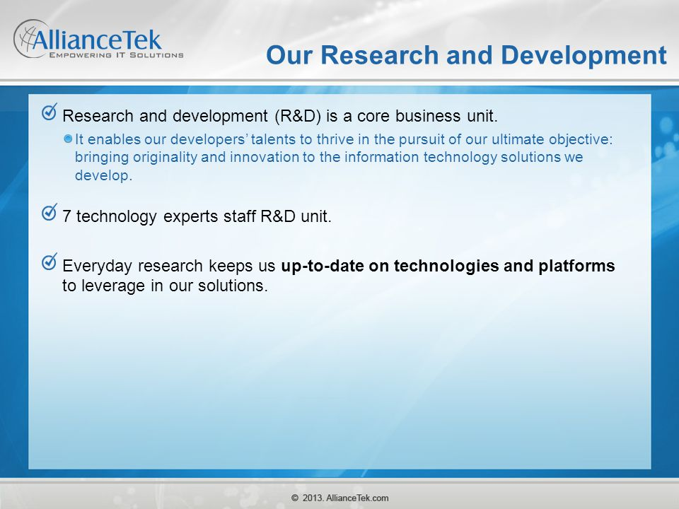 Our Research and Development