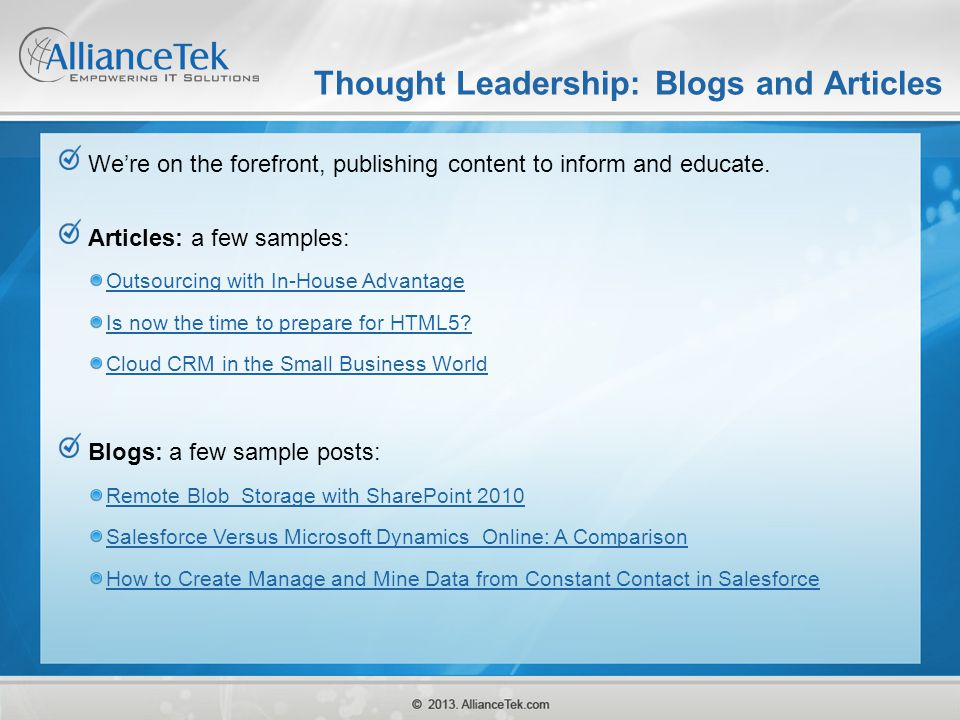 Thought Leadership: Blogs and Articles
