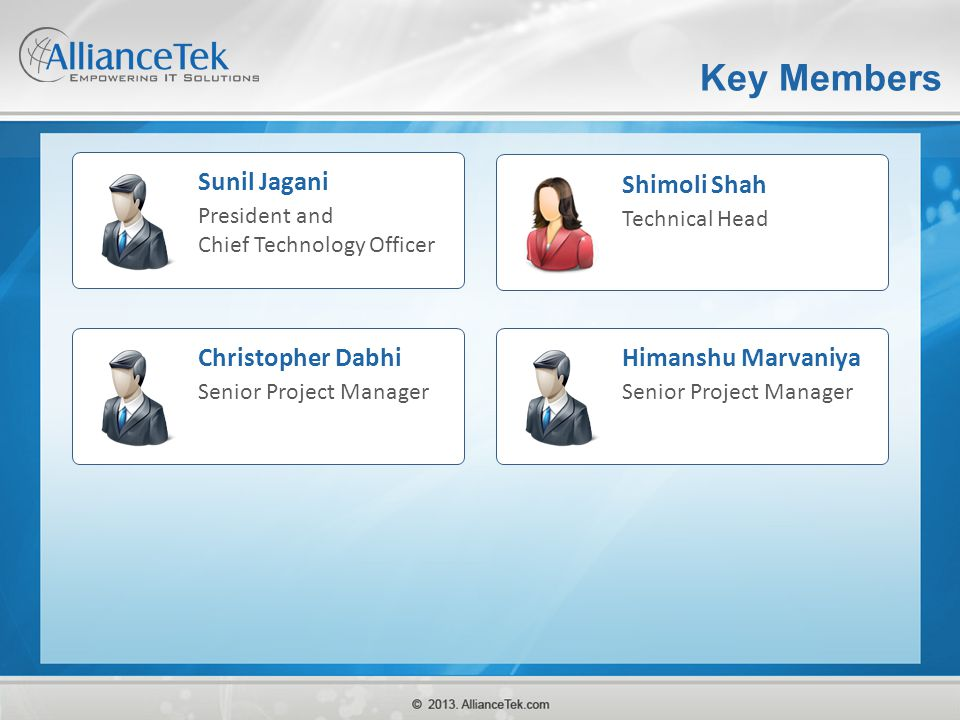 Key Members Sunil Jagani Shimoli Shah Christopher Dabhi