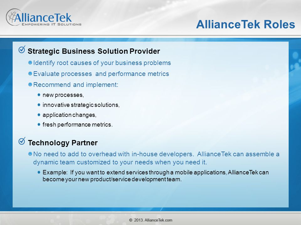 AllianceTek Roles Strategic Business Solution Provider