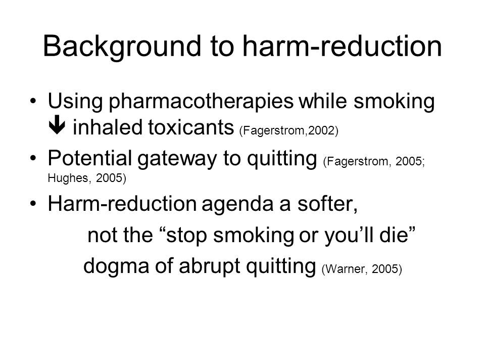 Background to harm-reduction