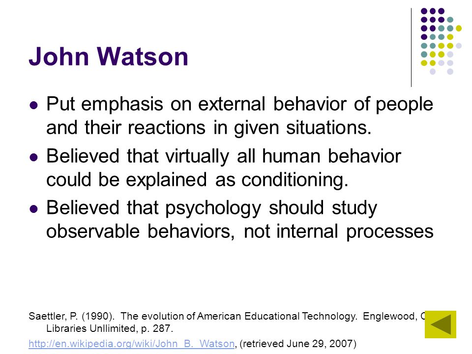 John Watson Put emphasis on external behavior of people and their reactions in given situations.