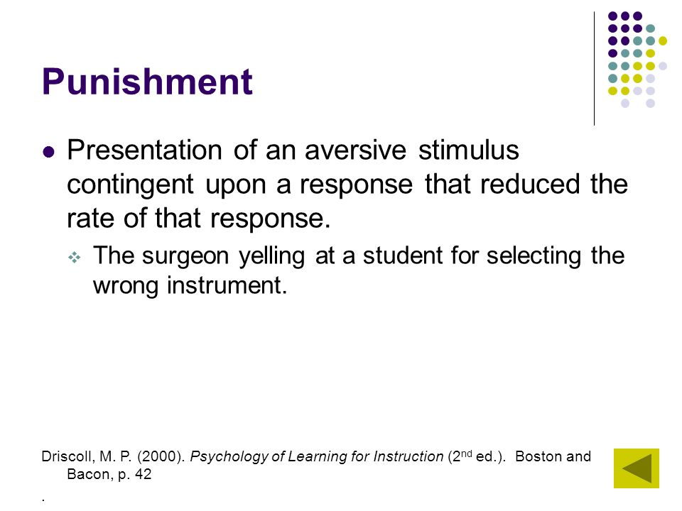 Punishment Presentation of an aversive stimulus contingent upon a response that reduced the rate of that response.