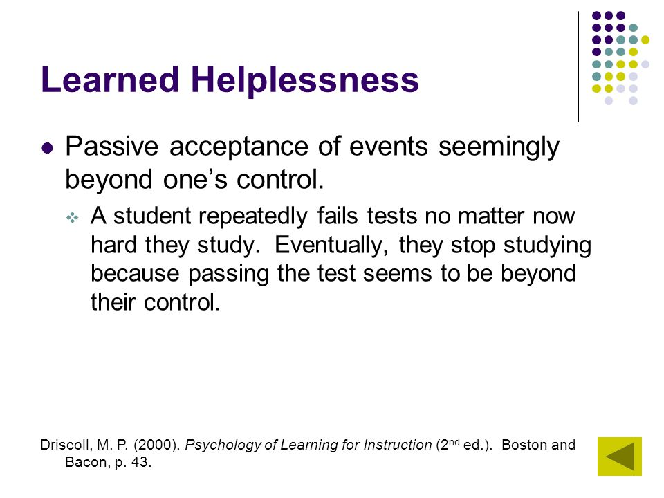 Learned Helplessness Passive acceptance of events seemingly beyond one's control.