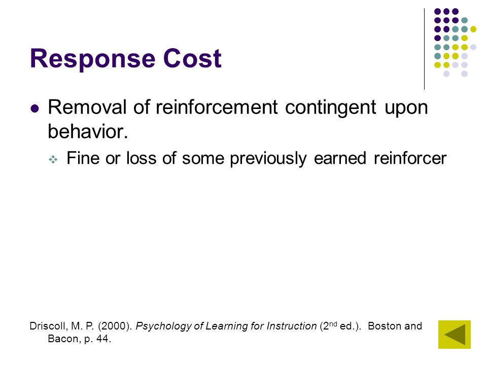 Response Cost Removal of reinforcement contingent upon behavior.