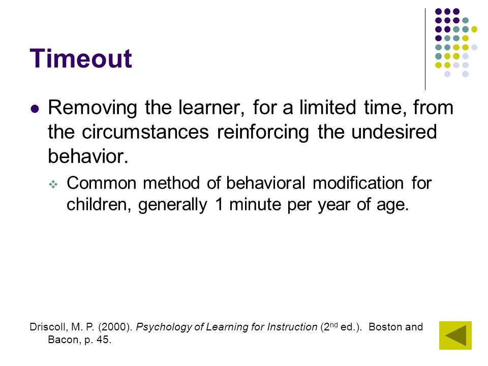 Timeout Removing the learner, for a limited time, from the circumstances reinforcing the undesired behavior.