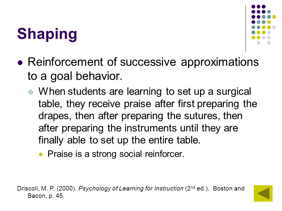 Shaping Reinforcement of successive approximations to a goal behavior.