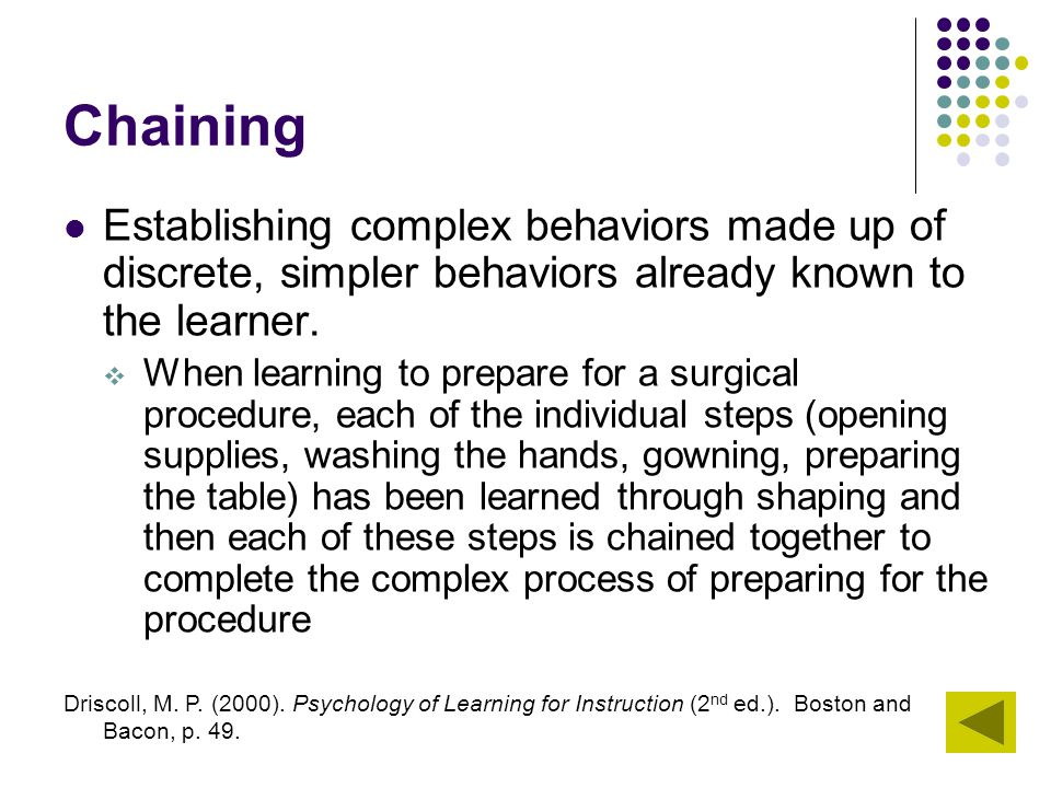 Chaining Establishing complex behaviors made up of discrete, simpler behaviors already known to the learner.
