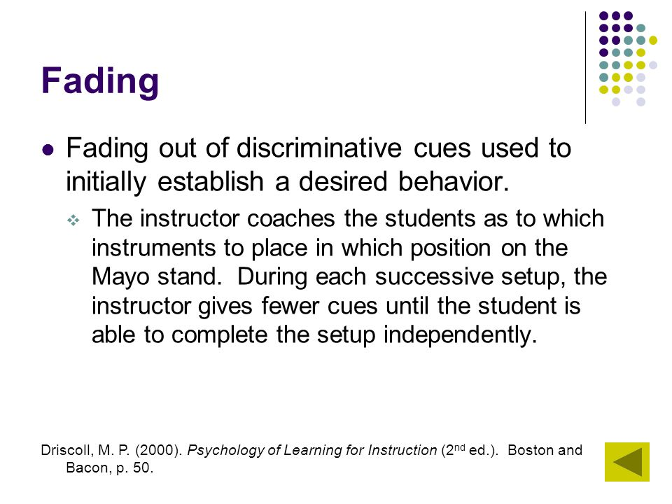 Fading Fading out of discriminative cues used to initially establish a desired behavior.