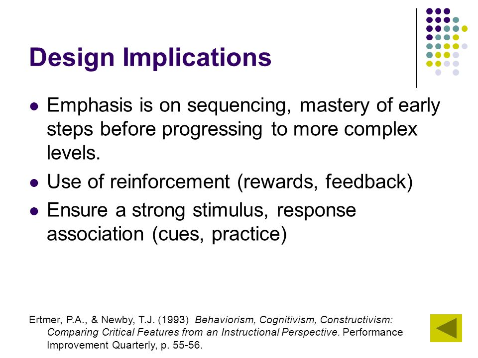 Design Implications Emphasis is on sequencing, mastery of early steps before progressing to more complex levels.