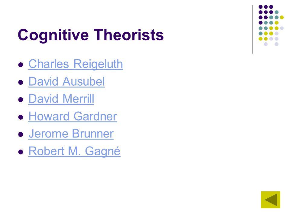 Cognitive Theorists Charles Reigeluth David Ausubel David Merrill