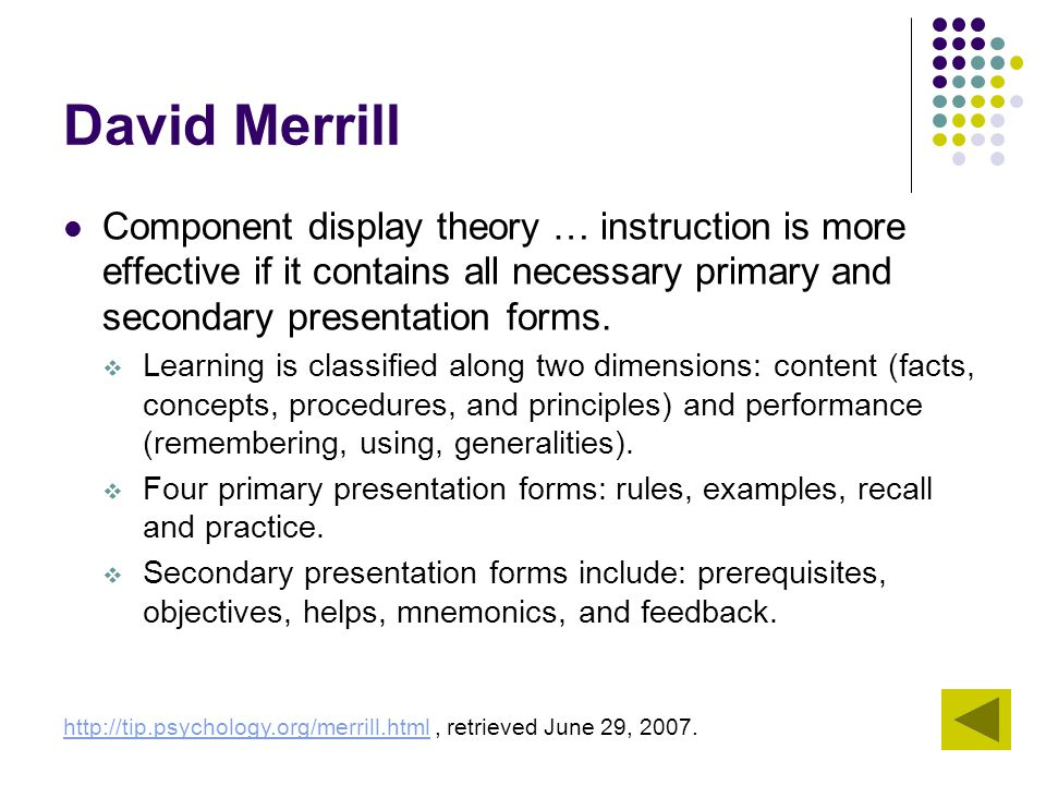 David Merrill Component display theory … instruction is more effective if it contains all necessary primary and secondary presentation forms.