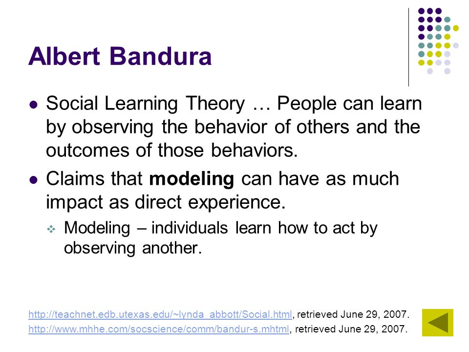 Albert Bandura Social Learning Theory … People can learn by observing the behavior of others and the outcomes of those behaviors.