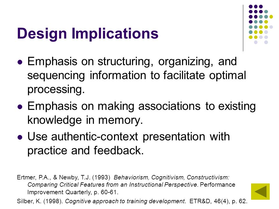 Design Implications Emphasis on structuring, organizing, and sequencing information to facilitate optimal processing.