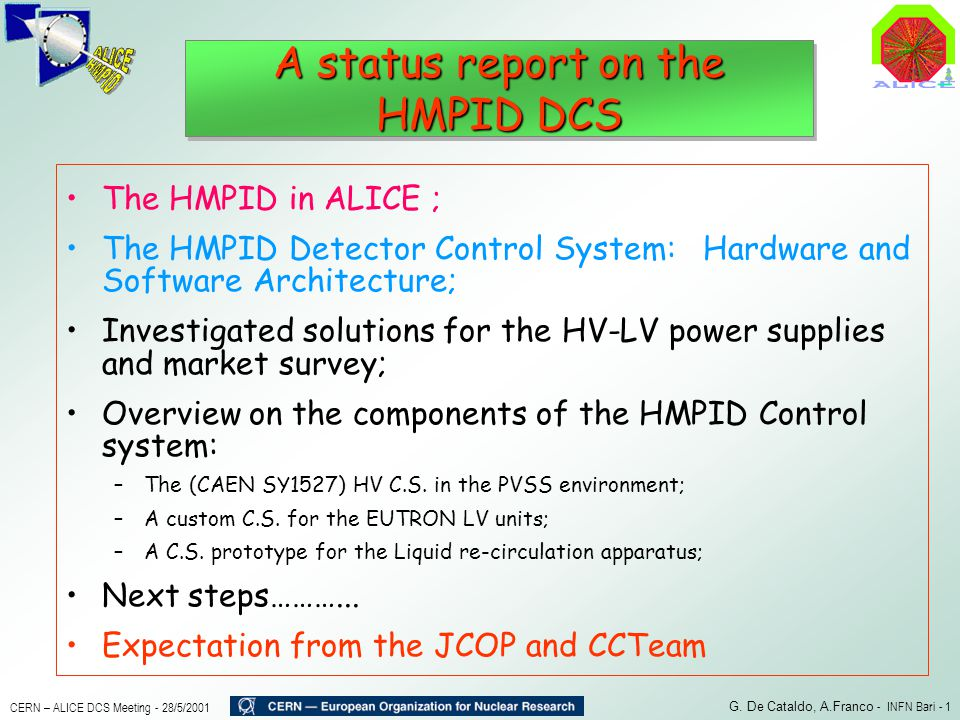 A status report on the HMPID DCS