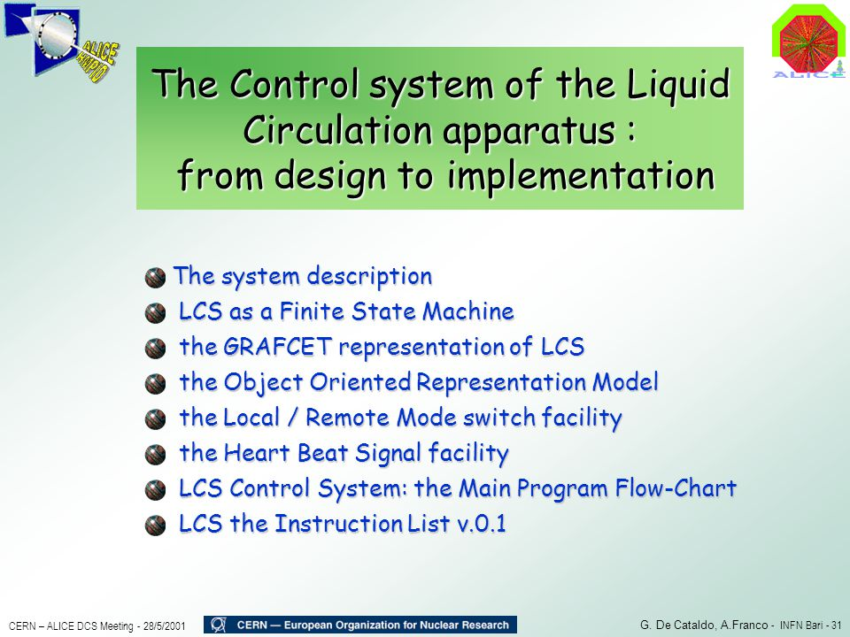 The Control system of the Liquid Circulation apparatus : from design to implementation