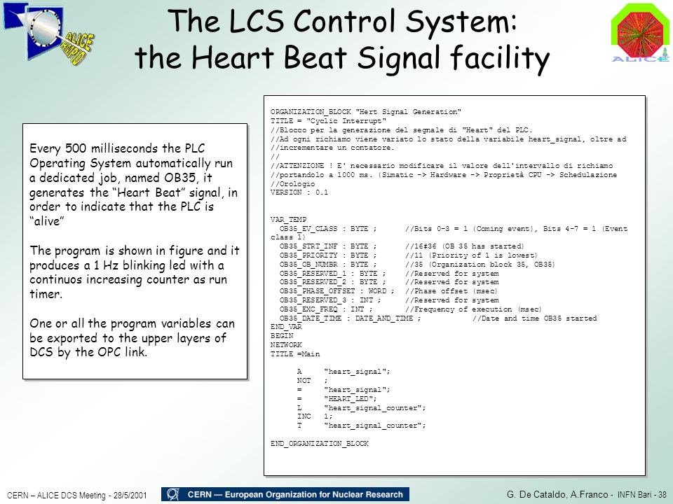 The LCS Control System: the Heart Beat Signal facility