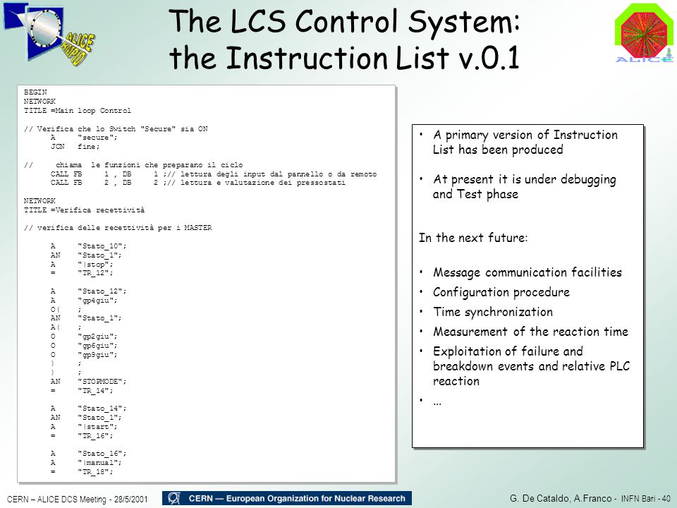 The LCS Control System: the Instruction List v.0.1