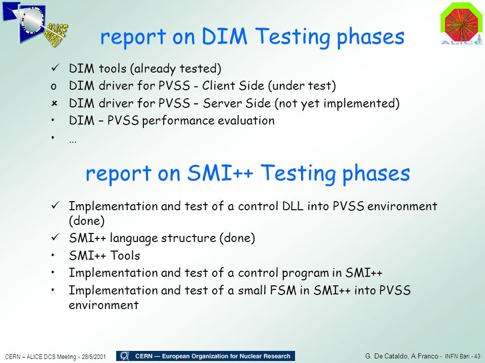 report on DIM Testing phases