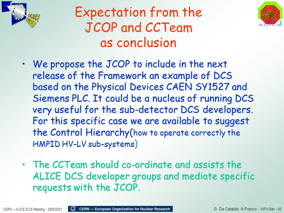 Expectation from the JCOP and CCTeam as conclusion