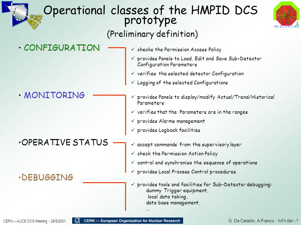 Operational classes of the HMPID DCS prototype
