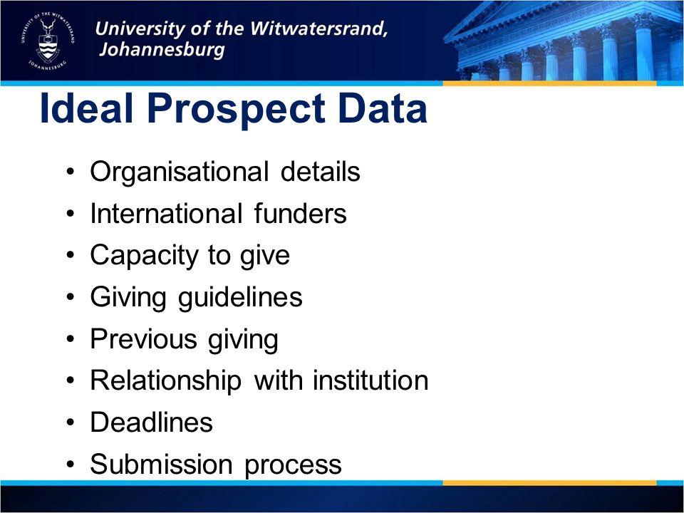 Ideal Prospect Data Organisational details International funders