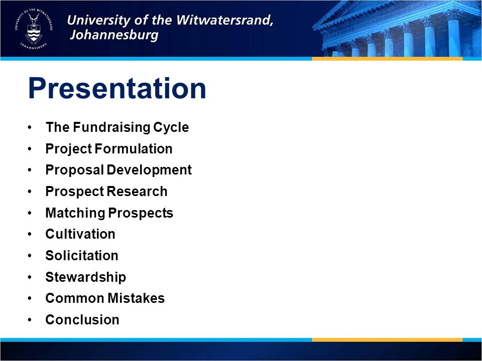 Presentation The Fundraising Cycle Project Formulation