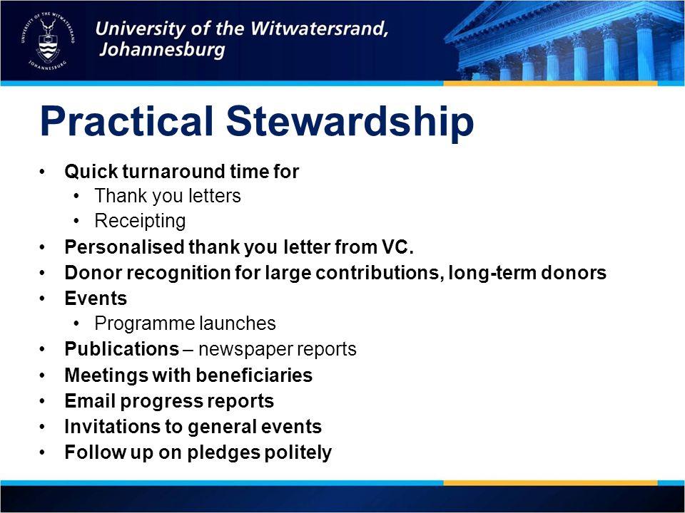 Practical Stewardship
