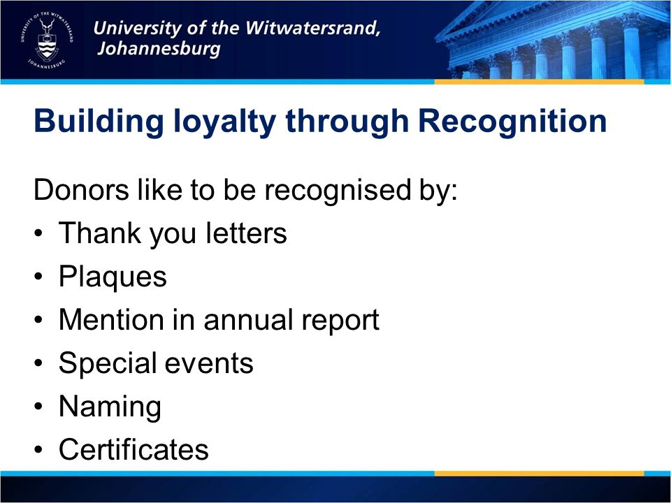 Building loyalty through Recognition