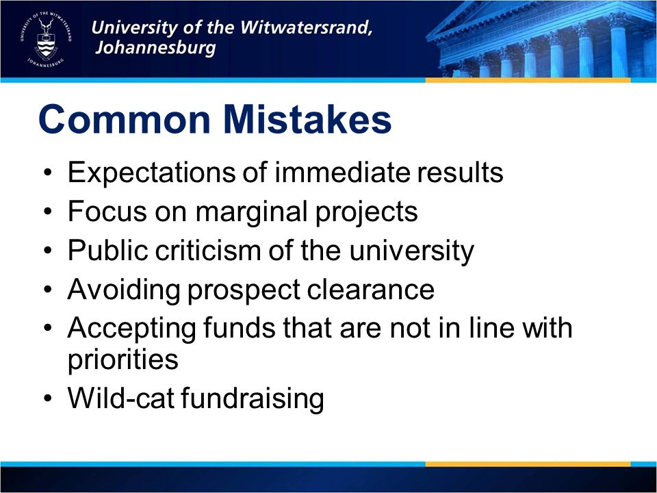Common Mistakes Expectations of immediate results