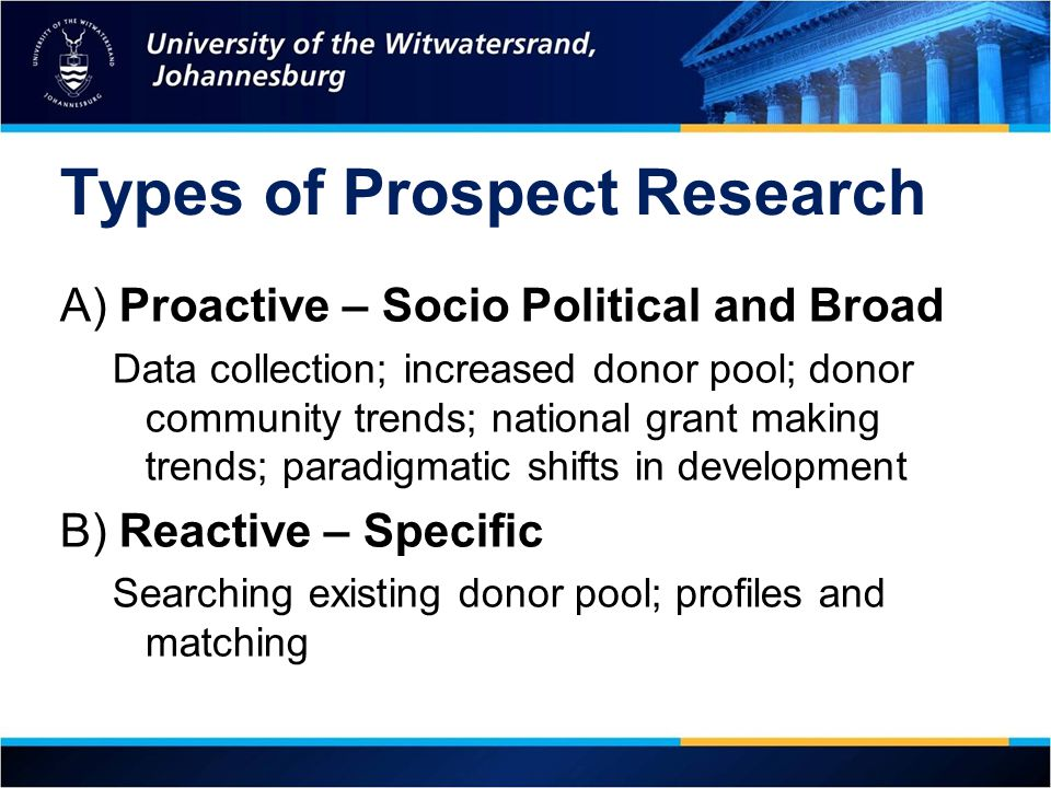 Types of Prospect Research