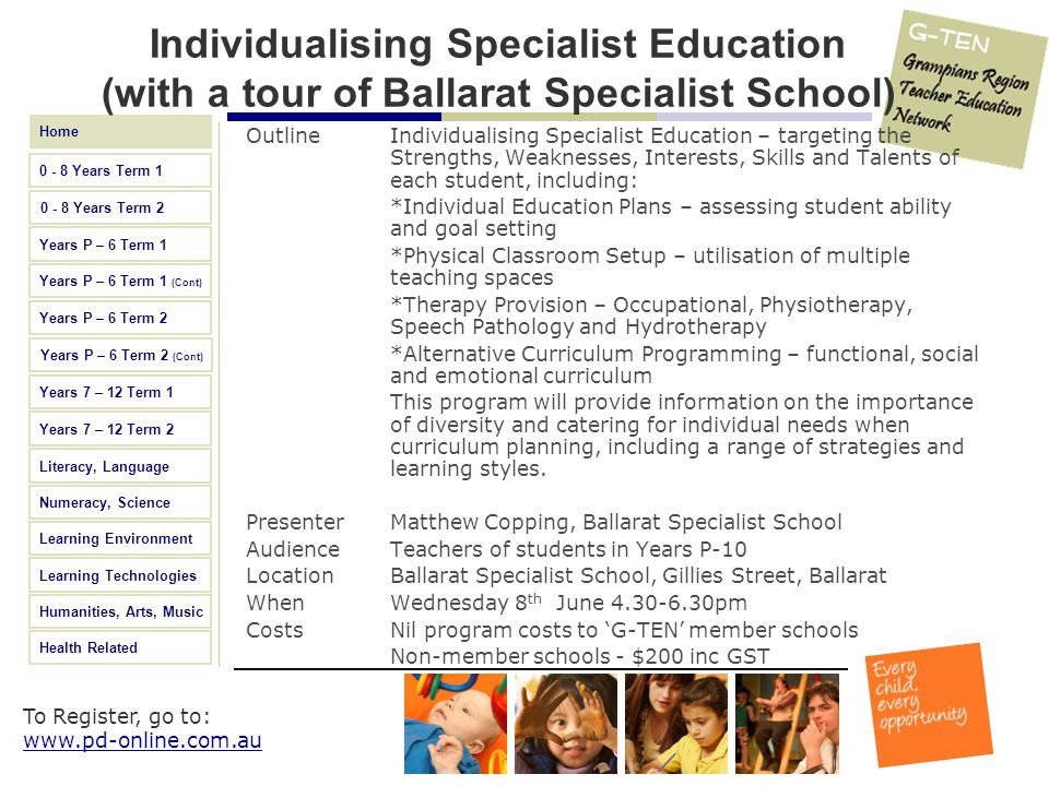 Individualising Specialist Education (with a tour of Ballarat Specialist School)
