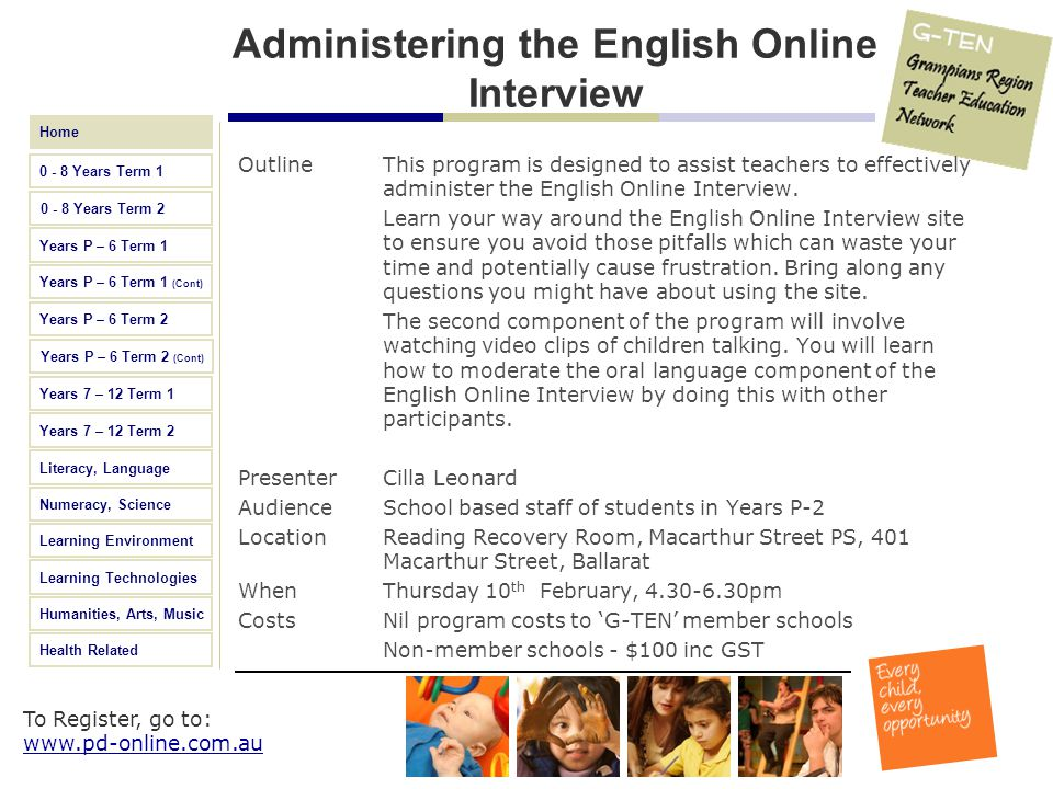 Administering the English Online Interview