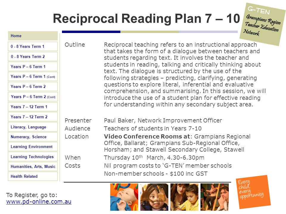 Reciprocal Reading Plan 7 – 10