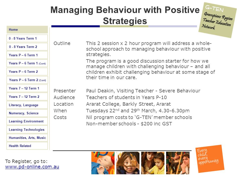Managing Behaviour with Positive Strategies