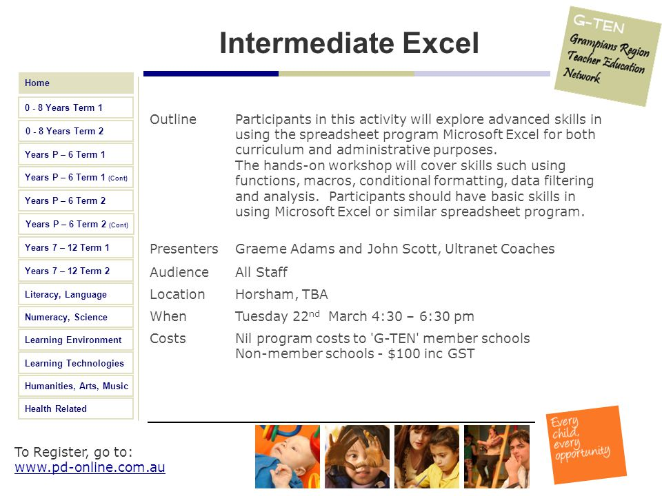 Intermediate Excel Outline