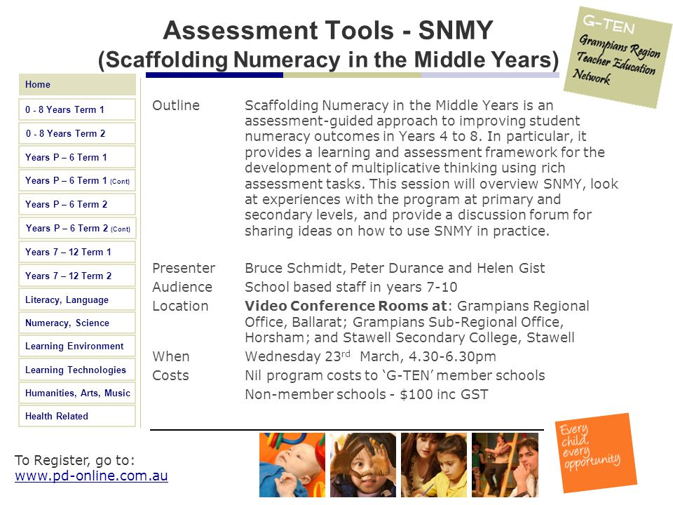 Assessment Tools - SNMY (Scaffolding Numeracy in the Middle Years)
