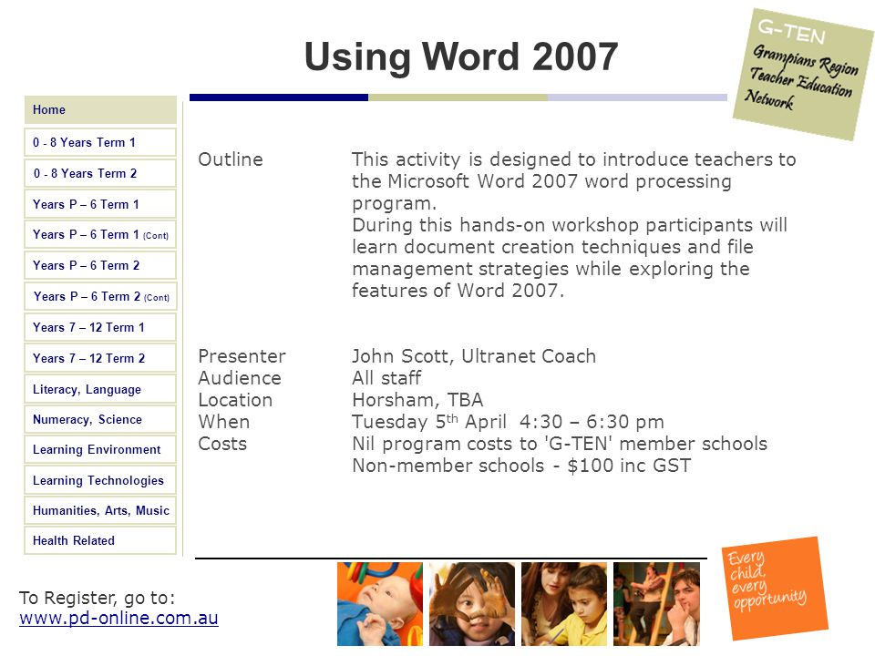 Using Word 2007 Outline This activity is designed to introduce teachers to the Microsoft Word 2007 word processing program.