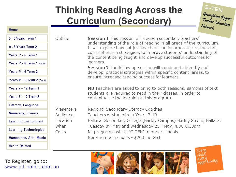 Thinking Reading Across the Curriculum (Secondary)