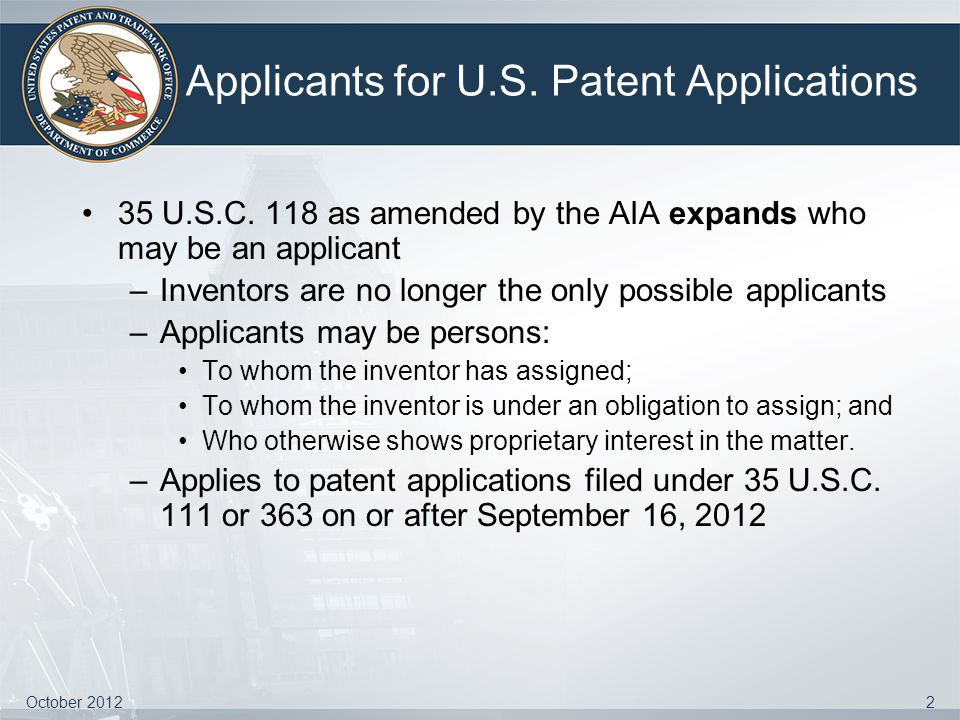 Applicants for U.S. Patent Applications